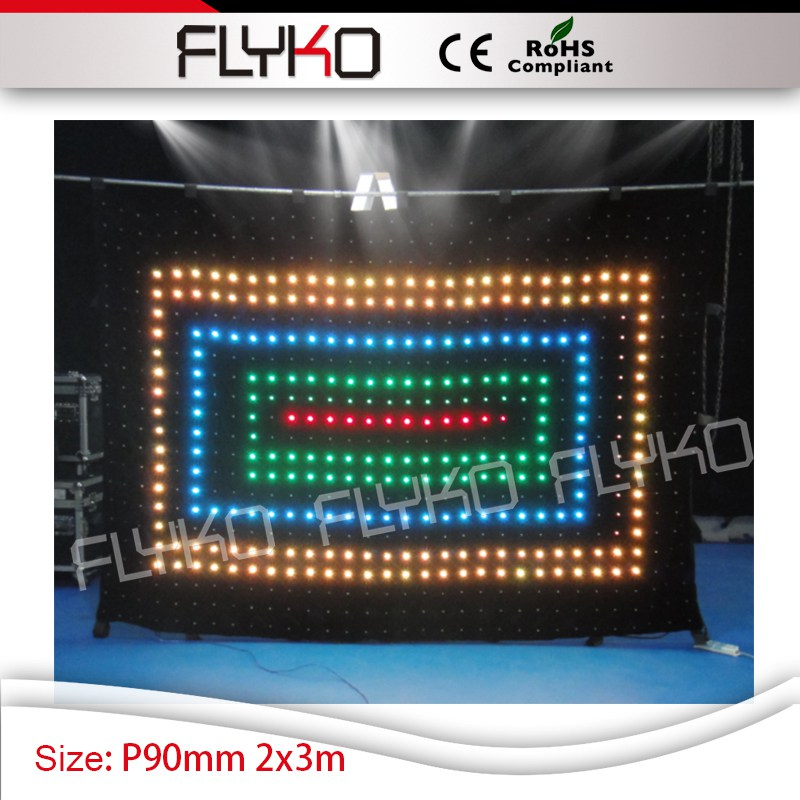 christmas led projector P90mm stage led video wall concert 2x3m bar,DJ,disco,club led curtain flexible