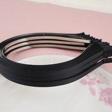 10 шт. 5 мм черная лента Grosgrain покрытые простые металлические повязки, обшитые проволочные повязки для волос DIY аксессуары для волос