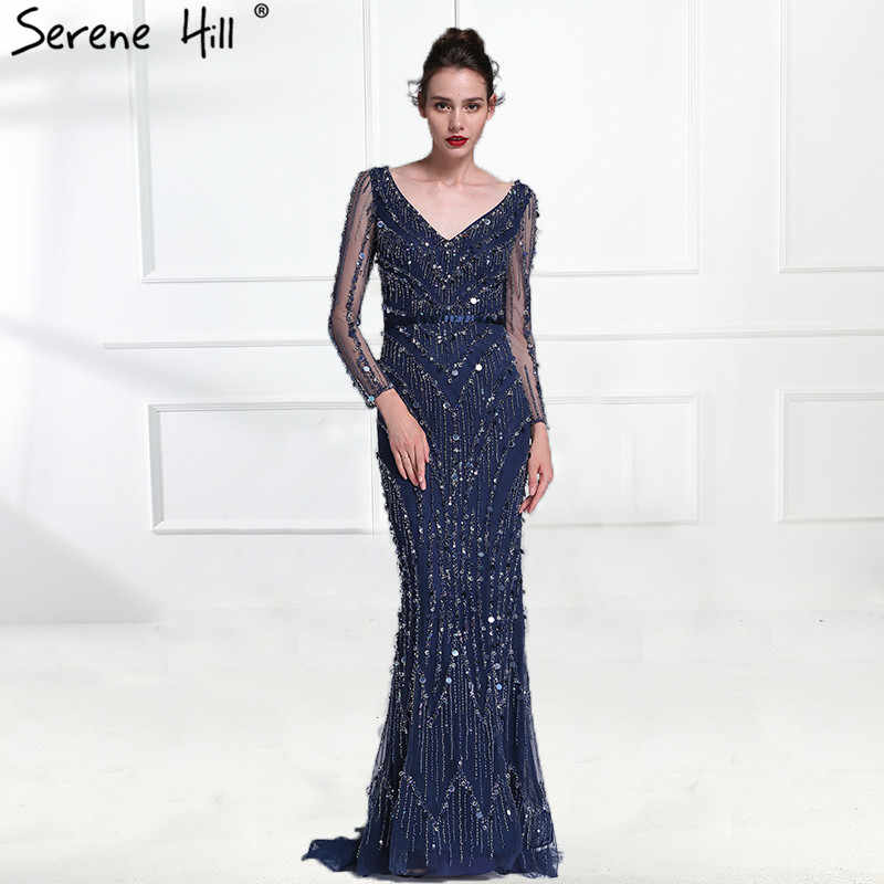 4b10241239751 Luxury Pink Navy Blue Beading Mermaid Tulle Evening Dress V-Neck Long  Sleeves Elegant Evening