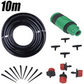 DIY micro irrigation drip system plant garden watering kits 10m hose +1xConnector +12x( Tee +Drippers +Tie Down Stakes )