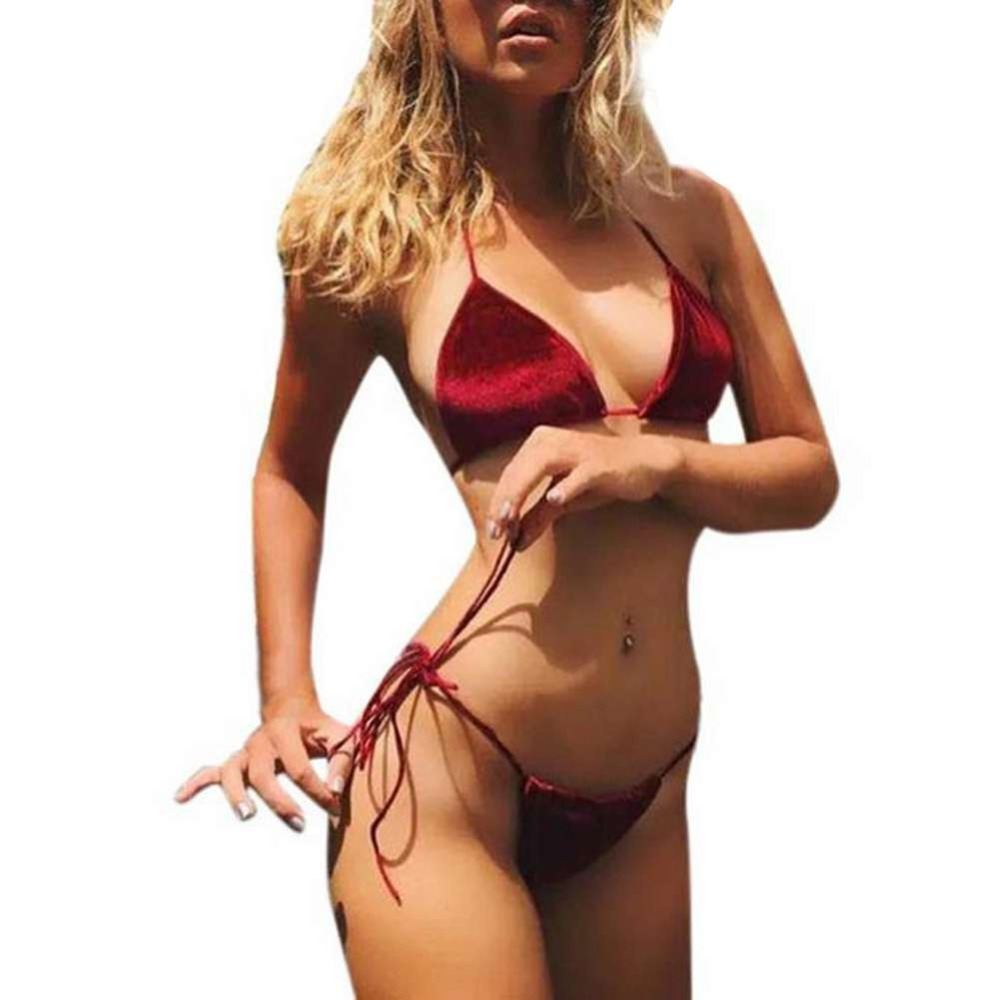 Women Velvet Thong Bikini Sets Blue Red Orange Swimwear Swimsuit Brazilian Beach Wear Bathing Suit High Quality 2018 New цена