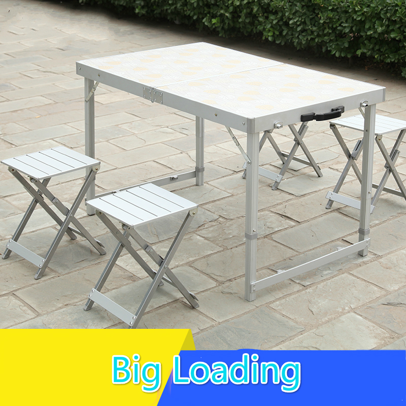 Outdoor folding  table chairs set suitcase portable desk camping table the new portable outdoor folding table chairs aluminum suitcase suit