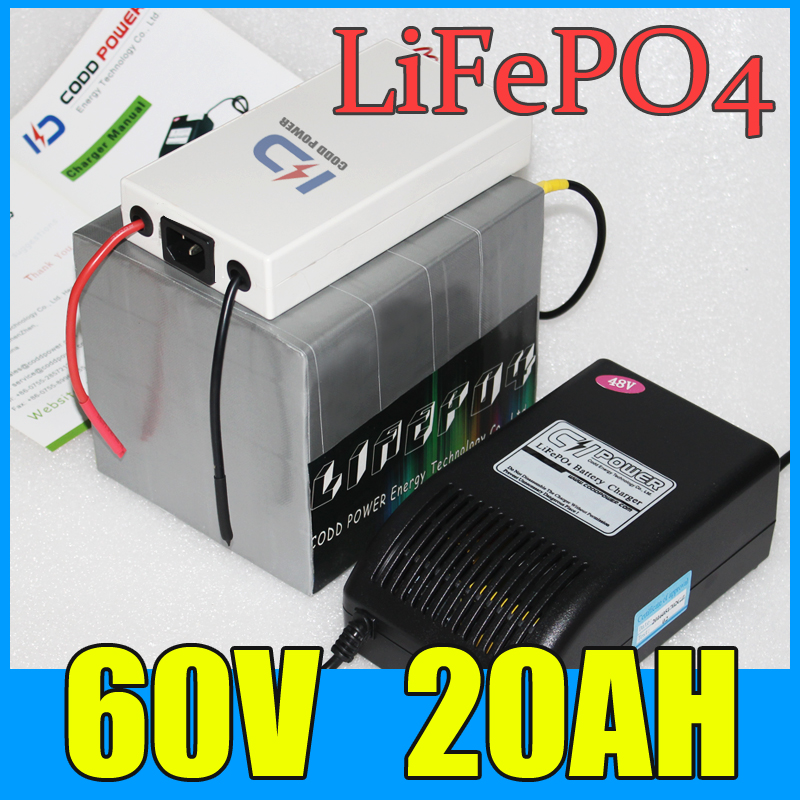 60V 20AH LiFePO4 Battery Pack ,1500W Electric bicycle Scooter lithium battery + BMS + Charger , Free Shipping 75V 20S 73v 5a 20s lifepo4 battery charger 60v 5a charger for lifepo4 battery