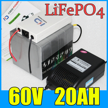 60V 20AH LiFePO4 Battery Pack ,1000W Electric bicycle Scooter lithium battery + BMS Charger , Free Shipping