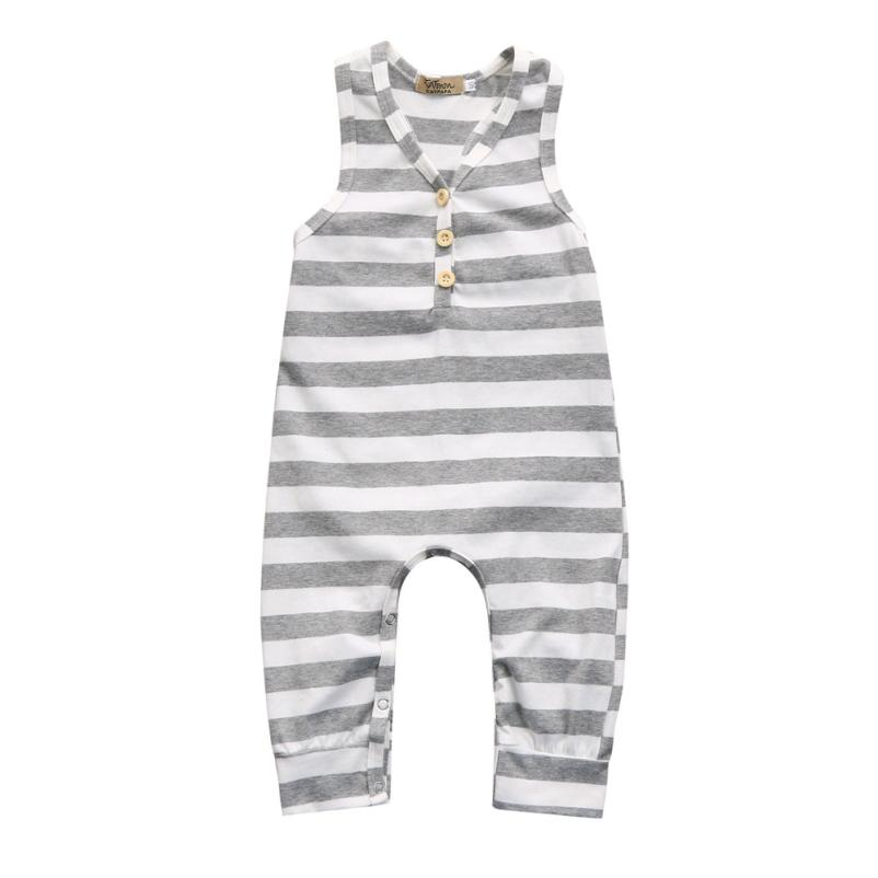 Baby Unisex Rompers Striped Cotton Onepiece Summer V-neck Sleeveless Clothing For Boys Girls With Button 18Mar22