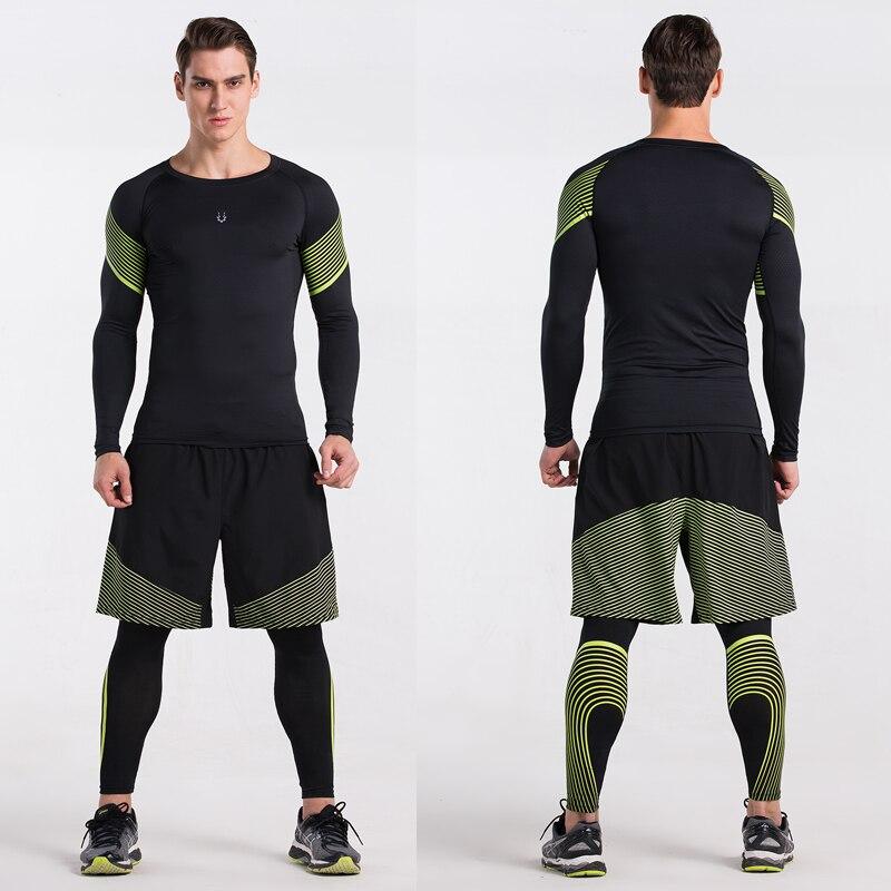 Erkekler Sıkıştırma Gömlek Spor Jogging Yapan Egzersiz Elbise - Erkek Giyim - Fotoğraf 5