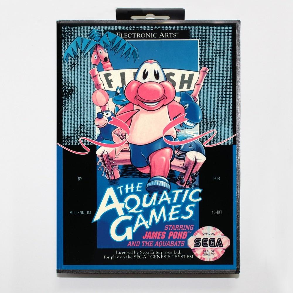16 bit Sega MD game Cartridge with Retail box – Aquatic Games for Megadrive Genesis system