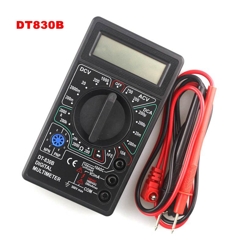 DT830B Mini Multimeter LCD Digital Multimetro For Volt Amp Ohm Tester Meter Voltmeter Ammeter Overload Protection With Probe an8206 overload protection mini digital multimeter lcd large screen display wave output ampere voltage ohm tester multimeter