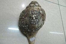 Tibet Buddhism Old Conch Shell Green TaRa Kwan-yin Bodhisattva clarion statue
