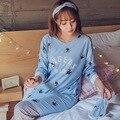 2016 Para Mujer de la Buena Calidad Otoño Invierno Pijamas de Las Mujeres Pijamas de Algodón de Manga Larga A Rayas Pijama Femme Homewear Ropa de Dormir
