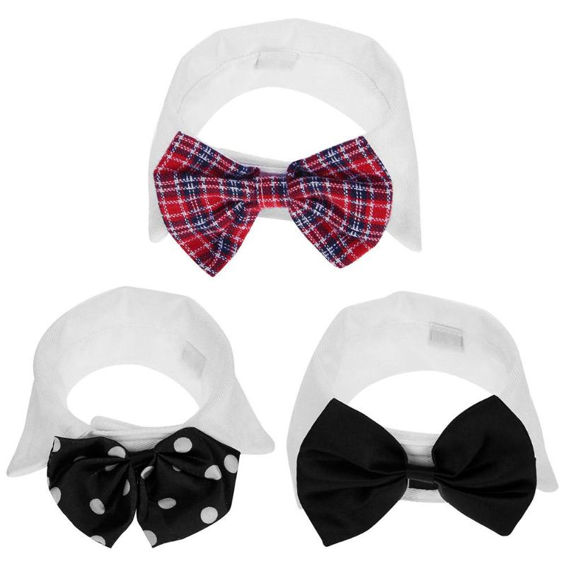 Pet Dog Bow Tie Adjustable Necktie Dogs Collar with Bow Tie Wedding Suit Clothes Accessories Cotton Dog &Cat Necklace For Pet