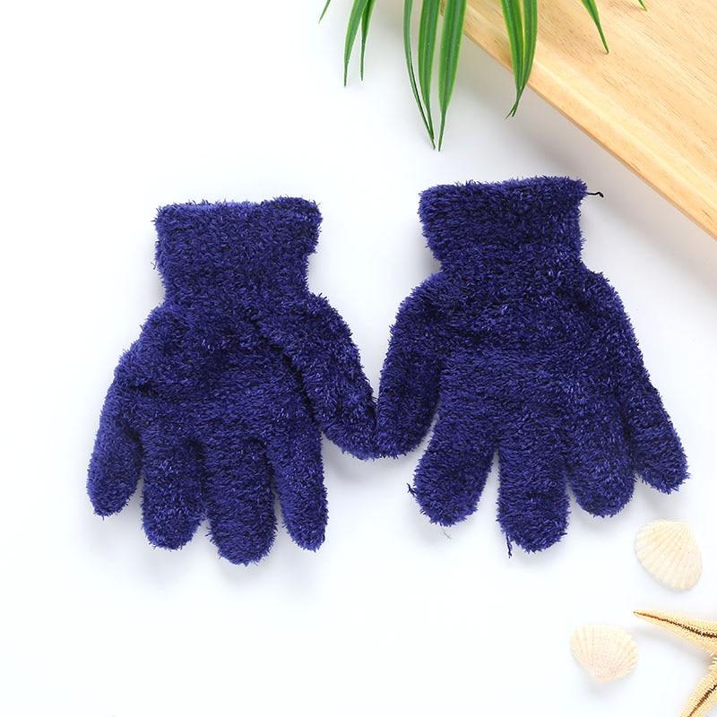 Плюшевые перчатки детские подарки детский сад Зимние удобные мягкие разноцветные - Цвет: cyan