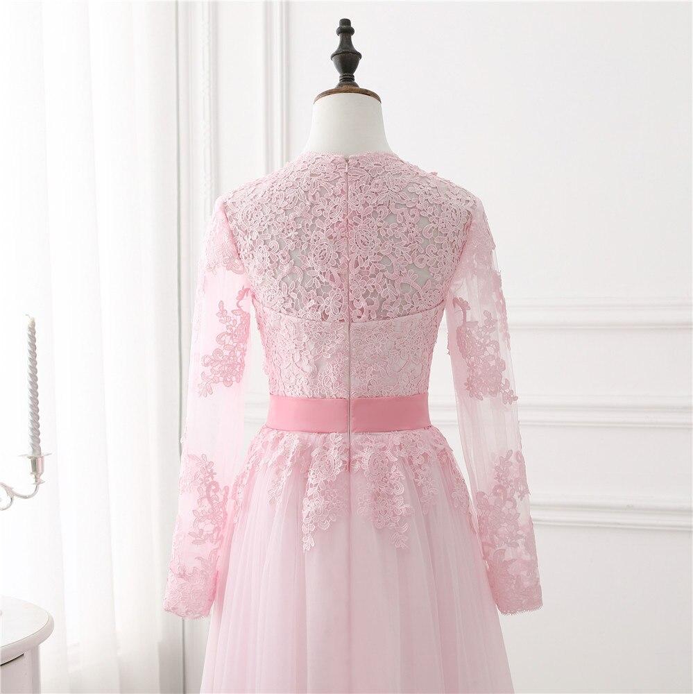 2018 Blush Kort Rosa Prom Klänning Långärmad Spets Appliqued Tulle - Särskilda tillfällen klänningar - Foto 5