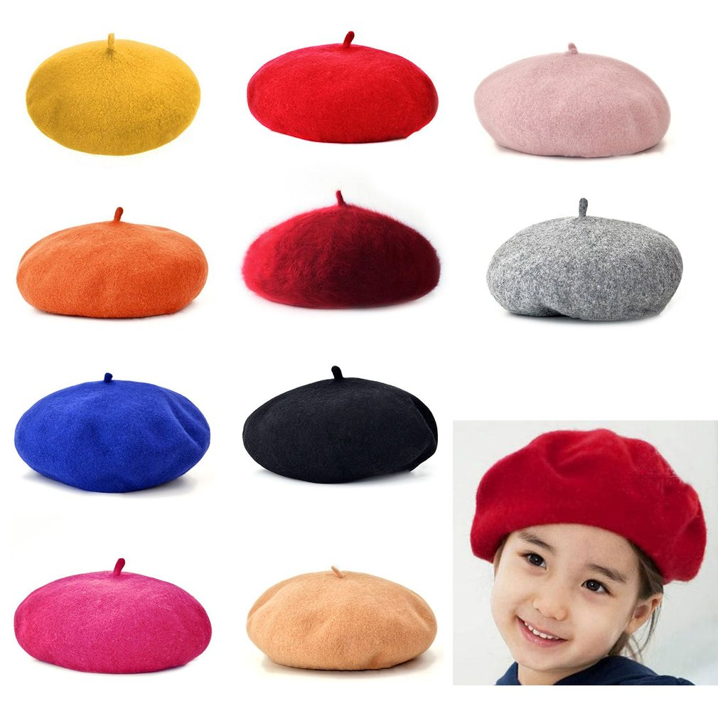 Autumn Winter Casual Classic Children Hat Solid Color Vintage Octagonal Berets Cap Round Soft Comfortable Woolen Hat for Girls autumn winter warm kids boys girls vintage wide brim cap soft wool felt bowknot bowler floppy children sun hat beach hat
