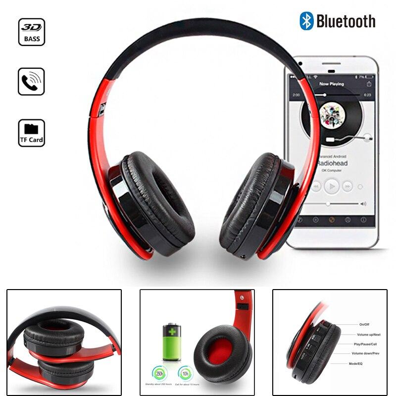 YEINDBOO auriculares inalámbricos Bluetooth del teléfono de la PC de la música auricular plegable cabeza auriculares con micrófono para adultos y niños