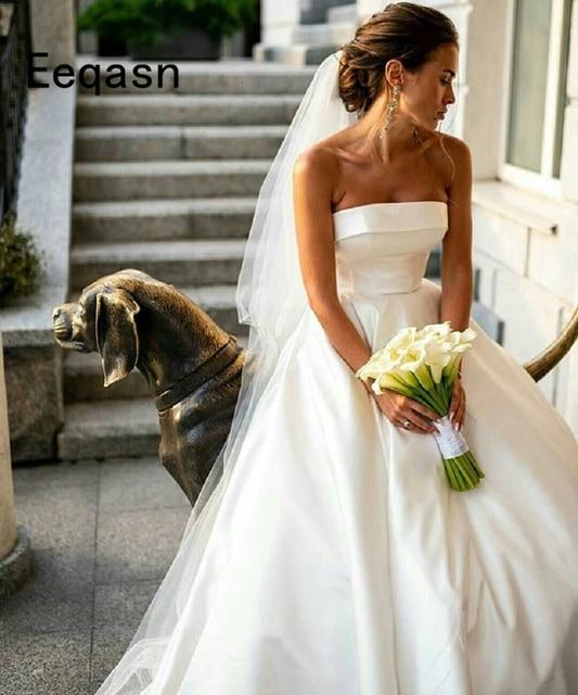 27921e43519a Vestido De Noiva 2018 Simple Satin Wedding Dresses A Line Court