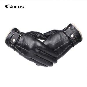 Image 1 - Gours メンズ本革手袋ファッション黒シープスキン指手袋ウール裏地暖かいで冬の新 GSM053