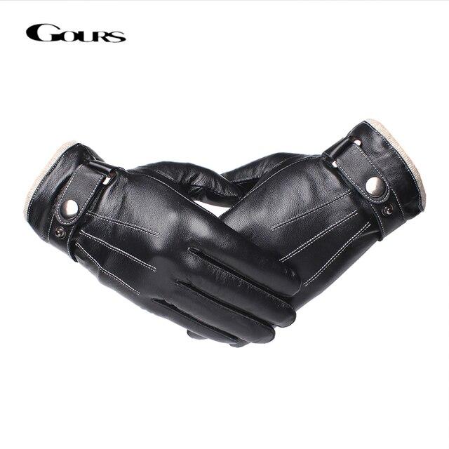 Gours メンズ本革手袋ファッション黒シープスキン指手袋ウール裏地暖かいで冬の新 GSM053