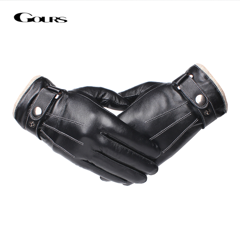 Gours Men's Genuine Leather Gloves Fashion Black Touch Screen Sheepskin Finger Gloves with Wool Lining Warm In Winter New GSM053