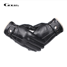 Gours Mens Genuine Leather Gloves Fashion Black Touch Screen Sheepskin Finger with Wool Lining Warm In Winter New GSM053