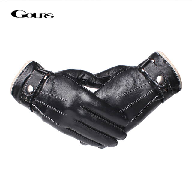 9ee93e4b2ca63 Gours Men's Genuine Leather Gloves Fashion Black Touch Screen Sheepskin  Finger Gloves with Wool Lining Warm In Winter New GSM053