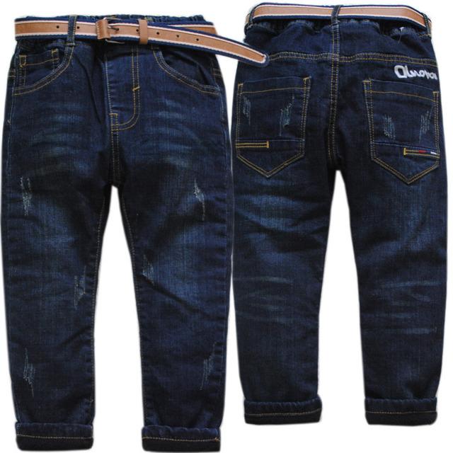 3984 3-5 años invierno cintura elástica boy jeans pantalones caliente pantalones de los niños de los muchachos del dril de algodón y de lana de dos pisos gruesos