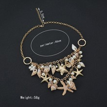 MissCyCy 2016 New Design High Quality Fashion  Big Bib Statement Chokers Seashells Starfish simulated pearl Necklaces For Women