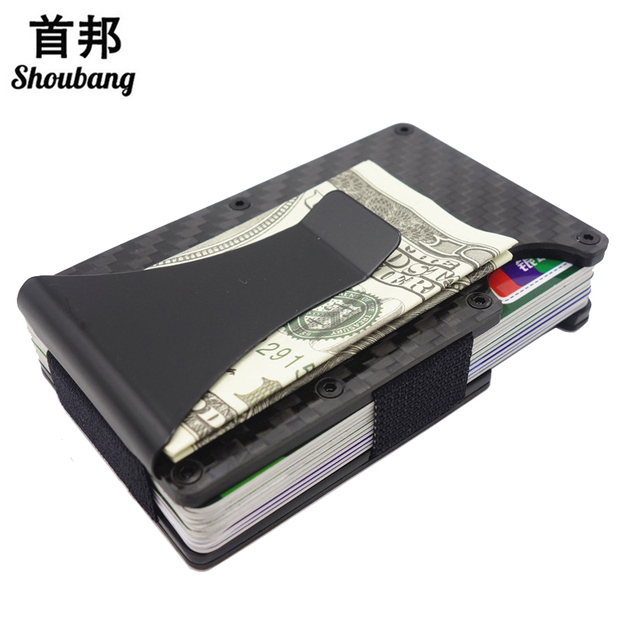 cb304885e8c3c7 Slim Carbon Fiber Credit Card & ID Holders Rfid Blocking Money Clip Wallet  Stainless Steel Aluminium Metal Case Box Men