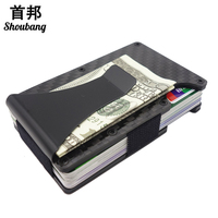 Slim Carbon Fiber Credit Card & ID Holders Rfid Blocking Money Clip Wallet Stainless Steel Aluminium Metal Case Box Men