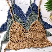 Knitted Bra Bikini Tank-Top Cami Crochet Bralette Backless Boho Sexy HALTER Women Summer