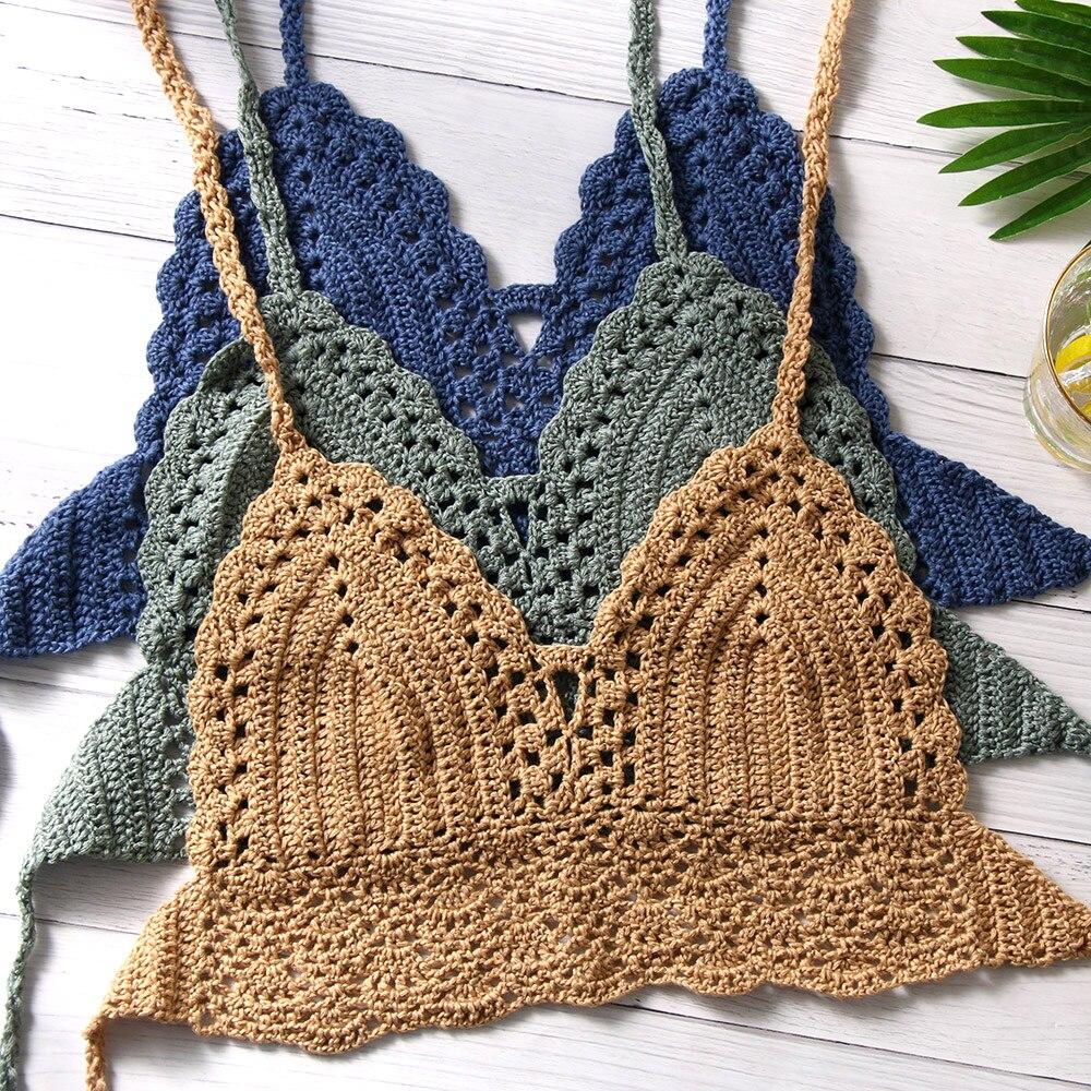 beach boho halter top cotton crochet top crochet fringe tank top boho fringe top crochet summer halter top Mint green halter top