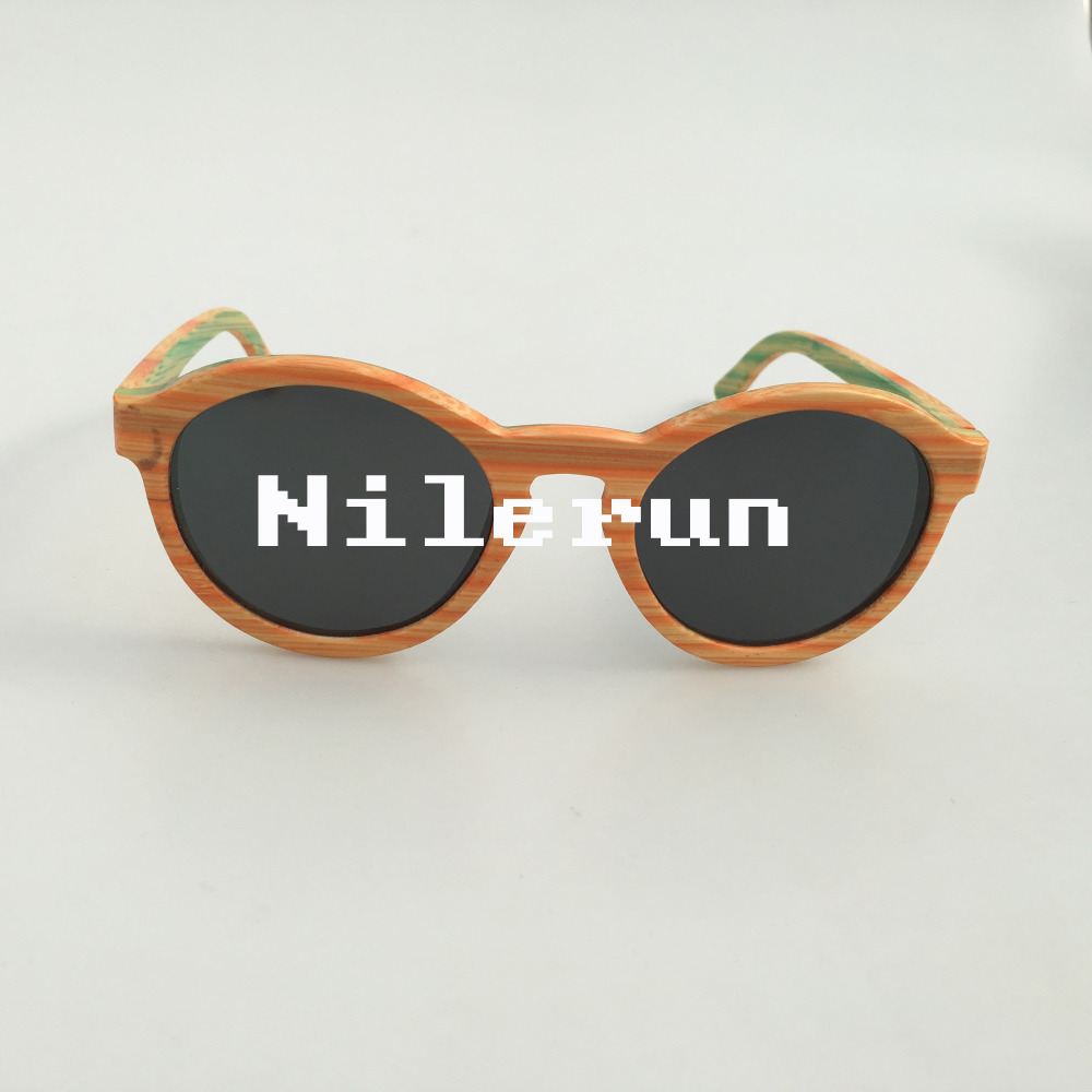 unisex round orange green stripe colorful bamboo eyewear sunglasses
