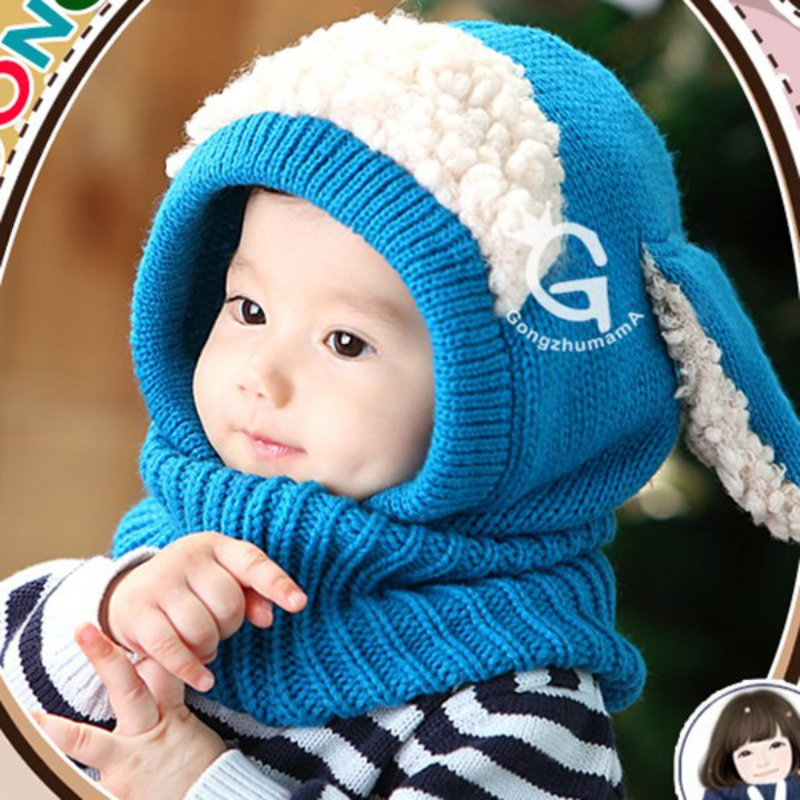 Apparel Accessories Boy's Accessories New Winter Kids Girls Boys Warm Woolen Coif Hood Scarf Caps Breathable Touca Inverno Scarves Caps Winter Warm Cap Lamb