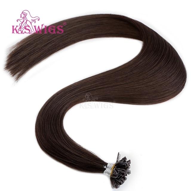 Extensions de cheveux naturels Remy à la kératine-K.S | Cheveux humains, 16, 20, 24, 28 pouces, pré-collé, u-tip, Capsule avec Fusion, Double tirage, lisses