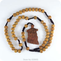 NEW Wood JESUS Pendant Rosary Beads Necklace Catholic Christian Fashion Religious jewelry
