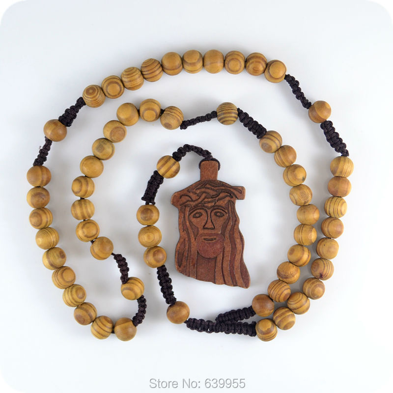 NEW Wood JESUS Pendant Rosary Beads Necklace Catholic ...