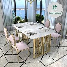 Луи мода обеденный стул современный простой светильник роскошная мебель сочетание скандинавского железа искусство прямоугольный стол бытовой