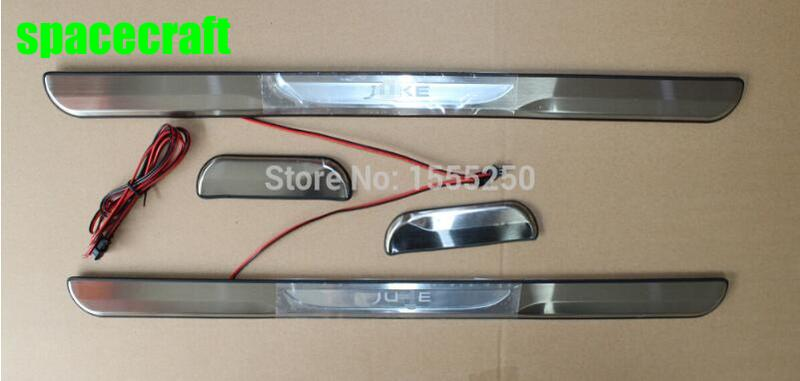 For Nissan JUKE High quality With LED light Stainless Steel Door Sill Scuff Plate Threshold,car accessories