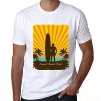 Men S T Shirt Sea Palm Tree Surfboard Design Summer Surf Tshirts Custom Printed Tops