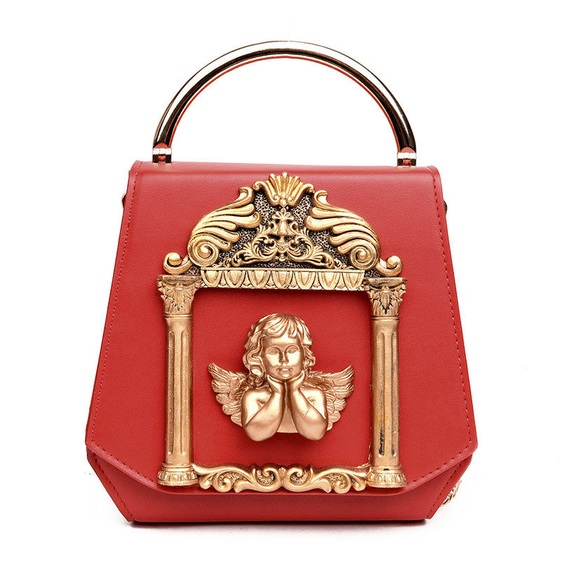 3D Golden Relief Angel Luxury Women Diamonds Evening Bags Baroque Style Day Clutches Purse Bags Pearl Ornament Chain new 3d relief angel luxury crossbody bag popular women diamonds evening bags baroque style day clutches purse bags chain purse