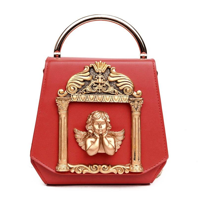 Bolsas de Noite Ouro Alívio Anjo Luxo Mulher Diamantes Estilo Barroco Dia Garras Bolsa Bolsas Pérola Ornamento Corrente 3d