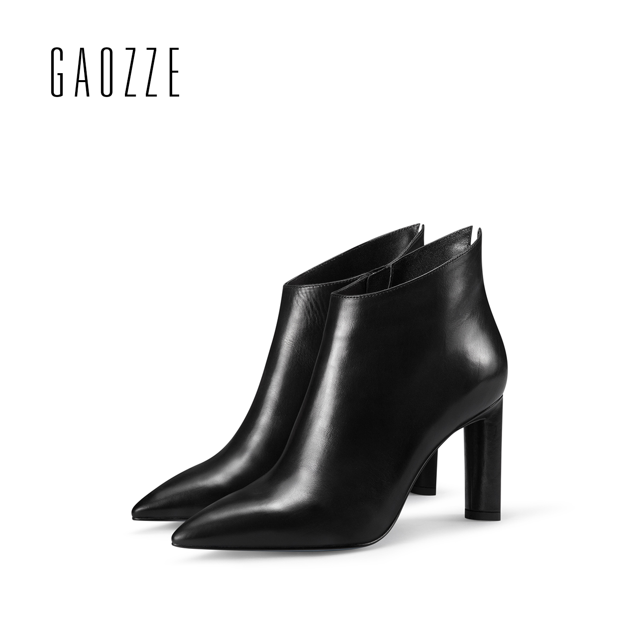 GAOZZE womens black leather boots 2017 new winter women ankle boots high heel side zipper fashion ankle boots shoes for women