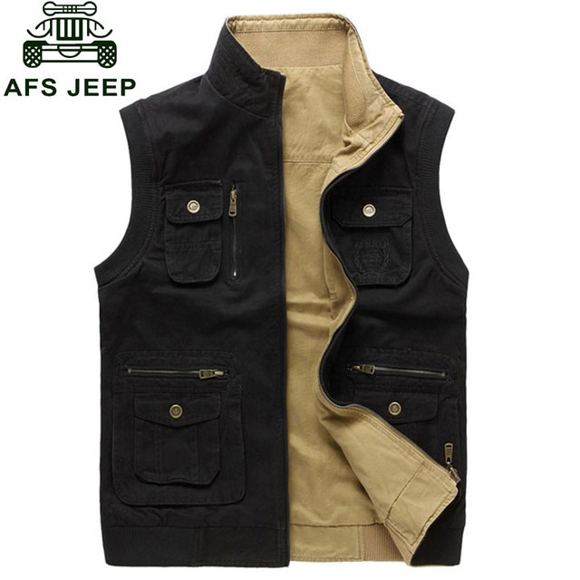 3XL 2016 Autumn Spring Reversible Casual Men Vest Coat CLOTHES Cotton Pocket Cargo ASIA SIZE Sleeveless Jackets Waistcoat Vests