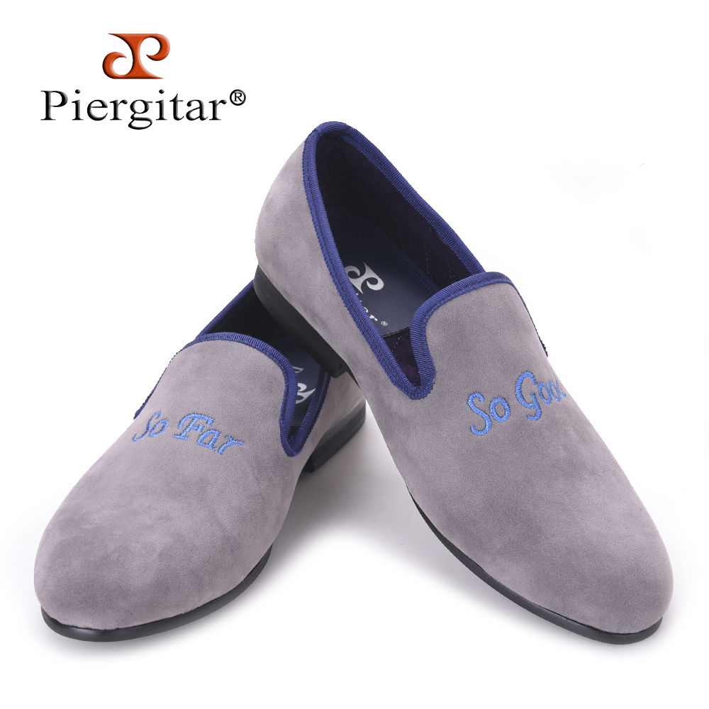 Piergitar fashion Handmade men grey color velvet shoes embroidered different words prom and banquet Loafers men casual flats men casual shoes green velvet loafers prince albert slippers handmade embroidered footwear