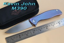 Green thorn Kevin John M390 or S35vn blade F95 Flipper folding knife double row ceramic ball Titanium hunting pocket EDC tools