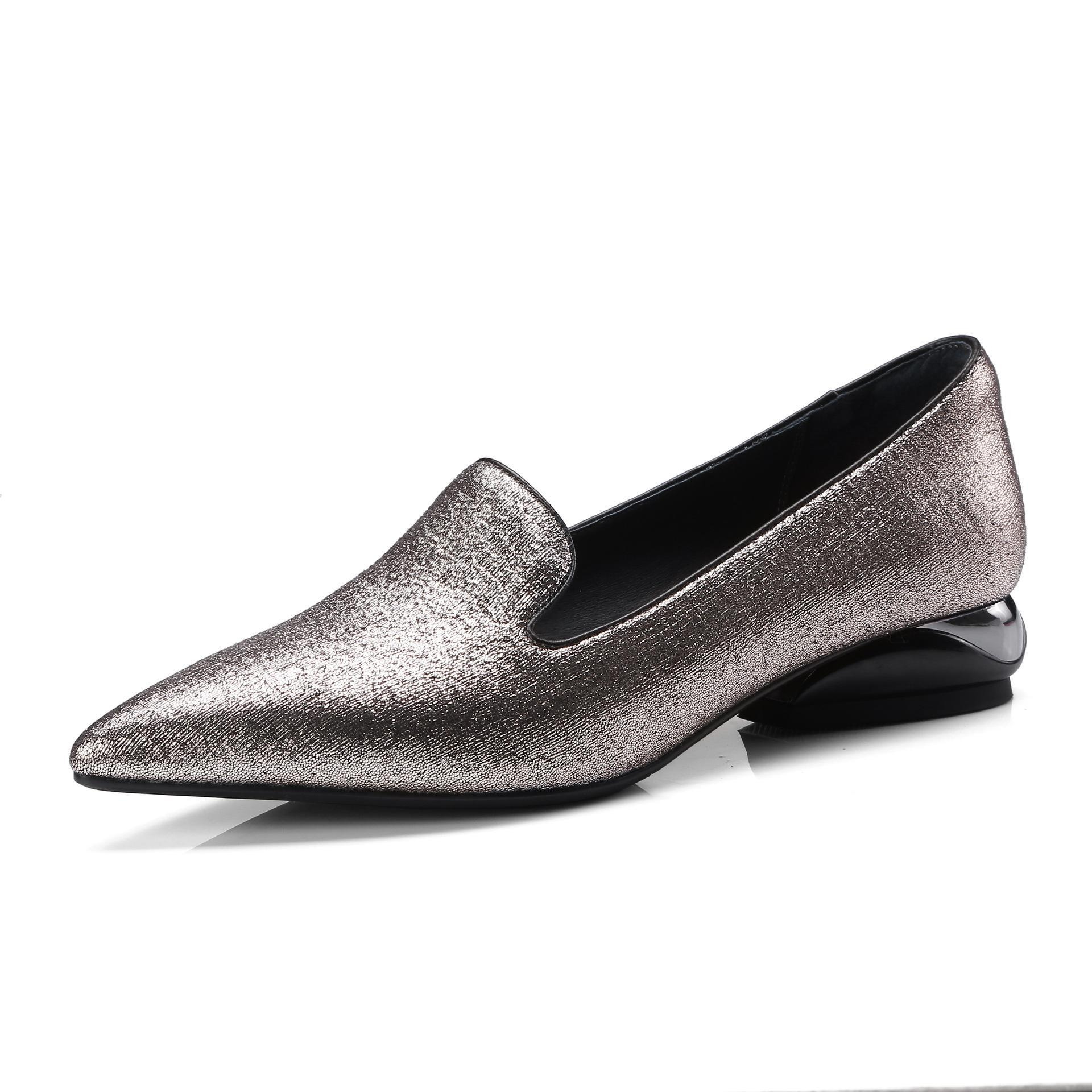Plus Size 34-42 Spring Women Pointed Toe Genuine Leather Boat Shoes Low Heels Pumps Woman Basic Square Heel Shoes Loafers anmairon women pumps 2018 low heel spring court shoes woman pointed toe pumps med heels silver gold women black giltter shoes