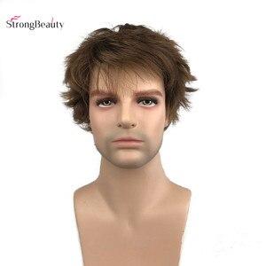 Image 3 - StrongBeauty גברים פאות Natura אור חום קצר ישר סינטטי שיער פאה פאה