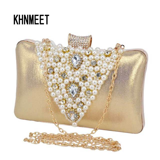 Pillow Shape Pu Fashion Pearl Clutch Bag Female Prom Wedding Bride Gold Evening Black
