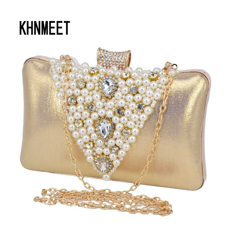 e6202a1e15 Pu Fashion Pearl Clutch Bag Female Prom Bag Wedding Bride Gold Evening Bag  Black Cheaper Crystal Chain Party Purse 9 -in Top-Handle Bags from Luggage    Bags ...