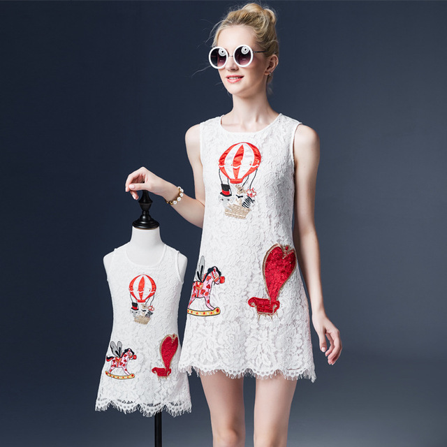 New arrive mother and kids fashion dress embroidery white lace girls summer dress kids clothes for children drop shipping